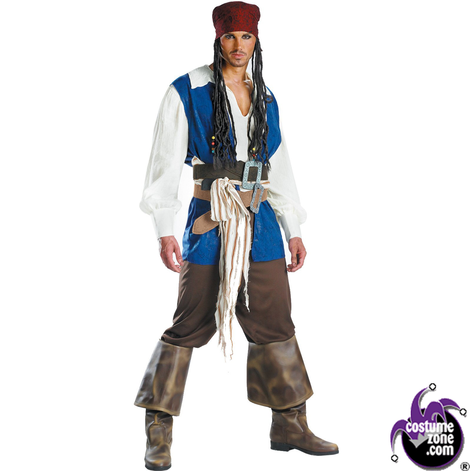 Halloween Costumes | Halloween Disney's Pirates of the Caribbean - Captain Jack Sparrow Quality Pirate Costume (Men's Adult Regular Size 42-46)